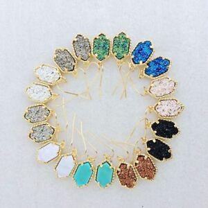 Unique Delicate Druzy Pendant Drop Earrings Chic Handmade Statement Mini Jewelry
