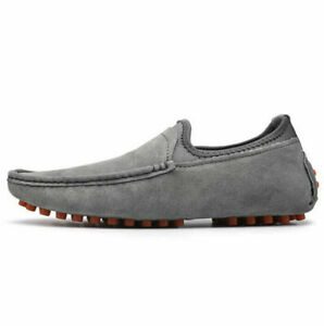 Men's Driving Casual Boat Shoes real Suede  Moccasin Slip On Loafers Plus Size