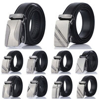 Fashion Men Automatic Buckle Belt PU Leather Belts Waist Ratchet Waistband 110cm
