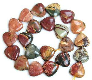 "14mm Natural Multi-color Picasso Jasper Gemstones Heart Loose Beads 15""##02"