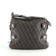DKNY Brown Monogram Canvas & Leather Hobo Shoulder Bag