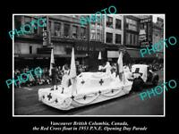 OLD HISTORIC PHOTO OF VANCOUVER CANADA, PNE PARADE, THE 1953 RED CROSS FLOAT