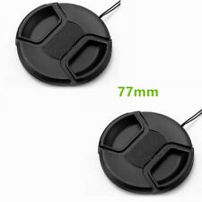 Mk 2pcs 77mm Camera Snap-on Lens Cap Cover with Cord Strap for Canon Nikon DSLR