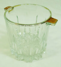 Small Glass Crystal Sawtooth Edge Base Ice Bucket with Gold Painted Lip