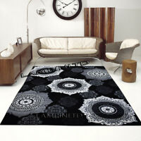Beautiful Designer Rug With Floral Pattern Glitter Yarn Black Rugs Runner Carpet