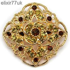 NEW GOLD FLOWER BOUQUET BROOCH BROWN AMBER DIAMANTE CRYSTAL WEDDING PARTY BROACH