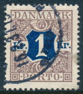 Denmark Scott J23/AFA Porto 19, 1Kr brown/blue Postage Due, VF Used