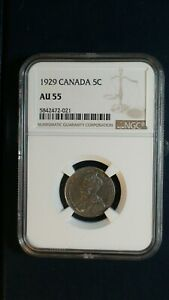 1929 Canada Nickel NGC AU55 ABOUT UNCIRCULATED 5C Coin PRICED TO SELL RIGHT NOW!