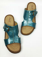 Softspots sandals 7.5 M comfort shoes teal faux patent style Caileen Turk Green