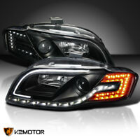 For 06-08 Audi A4 Projector Black Headlights+R8 Strip+Amber LED Signal