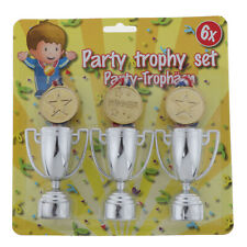 3pcs Gold Plastic Winners Medals +3 plastic Trophy Toys For Kids Party Fun Props