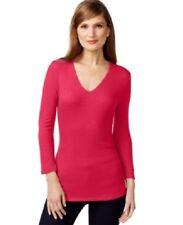 NWT INC International Concepts V Neck Ribbed 3/4 Sleeve Top Medium Red Romance