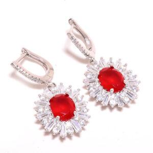 "Ruby & White Topaz Gemstone 925 Sterling Silver Earring Jewelry 1.42"" E628-10-6"