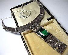 VINTAGE design firmato miracolo gioielli Celtic Smeraldo goccia dichiarazione collana