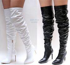New Women ADb Black White Over the Knee Pointy Toe Thigh High Stiletto Heel Boot
