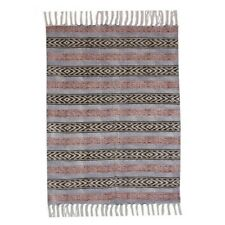 Hand Woven Area Rug Cotton Boho Decorative Floral Print Tribal Floor Mat