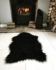Black Shaggy Faux Fur Furry Fluffy Sheepskin Soft Living Room Rug 60cm X 90cm