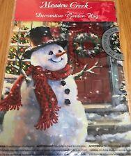 "Snowman Flag Red Door Mini Garden Meadow Creek New 12.5"" X 18"" Nylon Fabric"