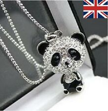 PANDA NECKLACE LONG SILVER PLATED RHINESTONE CRYSTAL PENDANT