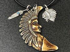 "Tribal Chief Yak Bone & Charms Tibetan Silver 18"" Rope Necklace BIN"