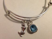 Mermaid Bracelet Tiny Charm Crystal Bangle Silver Light Blue Beach Surf Jewelry