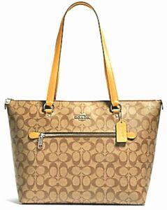 New Coach 79609 Gallery Tote handbag Coated Canvas with Leather Khaki / Honey