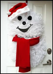 Christmas Snowman Deco Mesh Door Holiday Wreath, Seasonal Decor {Handmade}