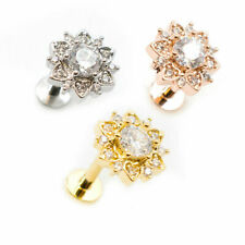 Flower Flat Back Stud Body Jewelry Internally Threaded 16g With Clear Jewels
