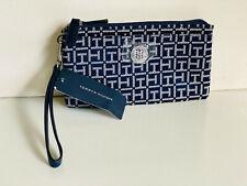 NEW! TOMMY HILFIGER BLUE DOUBLE ZIP WALLET CLUTCH POUCH WRISTLET $58 SALE