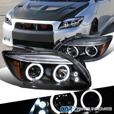 2005-2010 Scion tC JDM Black LED Halo Projector Headlights Head Lamps Left+Right