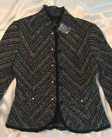 NEW EXCELLENT! Black, ECI New York! Wool Blend, Jacket, Blazer, Cropped, 10, NWT