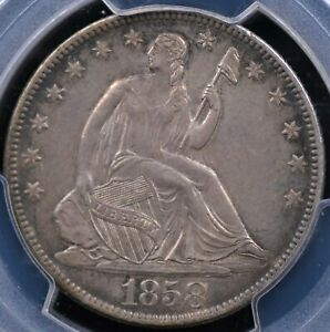 1858 O SEATED HALF DOLLAR PCGS AU 58 NICE GLOWING ROSE / PEWTER / SEAGREEN OVER