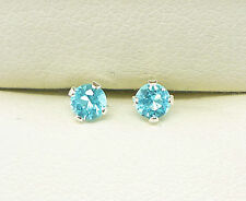 TOPAZ STERLING SILVER STUD EARRINGS ROUND 3mm SMALL STUD CREATED BLUE STONE