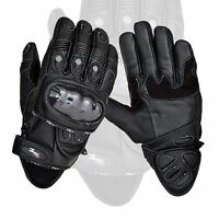 Black Short Leather Knuckle Protection Motorbike Motorcycle Gloves