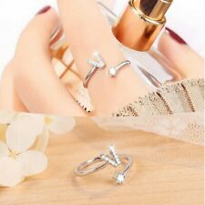 Letter V Crystal Silver Open Knuckle Ring Adjustable Lady Jewelry Wedding Gifts