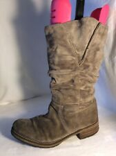 CLARKS Ladies Grey Leather Mid Calf Boots Size 5.5