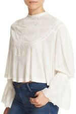 FREE PEOPLE femme fatale ivory embroidered victorian bell sleeve blouse XS nwt