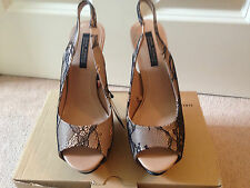 * Nuevo * Vendido Zara Negro Encaje Nude Charol Plataforma Punta Abierta Zapatos UK 37 4