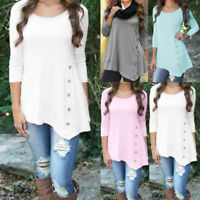 Plus Size Women's Loose Long Sleeve Irregular Ladies Casual Tops T-Shirt Blouse