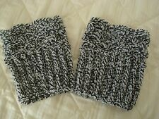 Handmade Crochet Boot Cuffs Leg Warmers Black White Stylish Fashion Accessories