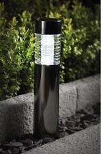 Pair Black Nickel Finish Solar Garden Bollard / Border Lights by Gardman