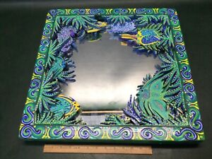 """Tropical 3D Wooden Frame Artisan Hand Painted Mirror Coral Reef ~ 20"""" Square"""