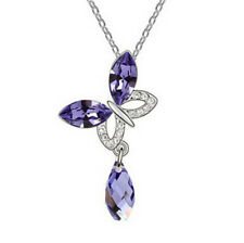 Fashion Jewelry Butterfly With Purple Crystal Water Drop Pendant Necklace Chain