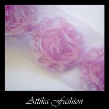 Purple-Pink --- Organza Floral Designer Trim  *per yard* *Headbands* *Costumes*
