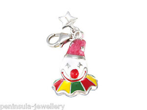 Tingle Sterling Silver Charm clip on Clown with Gift Box and Bag SCH96