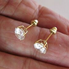1 Carat simulated diamond Stud EARRINGS 14K Yellow GOLD ROUND cut Screw Back