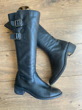 Clark's Wider Calf Black Leather Knee High Riding Boots 5 38