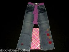 NEW My Twinn GIRL'S BRIGHT SNOWFLAKE JEANS Dark Denim Pants Sz M w/Purple Sash