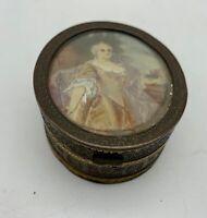 Antique Brass Ring Box Portrait lid circa 1875