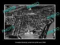 OLD LARGE HISTORIC PHOTO FRANKFORT KENTUCKY AERIAL VIEW OF THE TOWN c1940